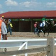 Here are a few pictures of the pavilion and of  the paddock getting the horses ready at Pinnacle Race Course. It's a great place to get away from the rest...